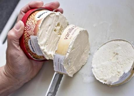 TIP: Use a serrated knife and sawing motion to cut rounds from a pint container.