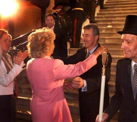 Boston, MA - State House - 4/10/01 - Staff Photo: Barry Chin. Departing Gov. Paul Cellucci embraces his wife Jan as he prepares to leave the State House following a transition ceremony there today.