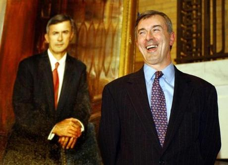 Boston, MA----11/18/02---- Former governor Paul Cellucci during the unvieling of the official portraits in the Great Hall at the State House. Cellucci's portrait was painted by Ronald N. Sherr. Library Tag 11192002 Metro -- Library Tag 03192004 Metro