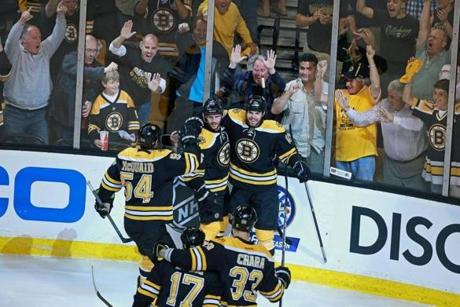 The Bruins opened the scoring in the first period with a goal by David Krejci.