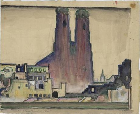 Le Corbusier (Charles-Edouard Jeanneret) (French, born Switzerland. 1887-1965). Frauenkirche, Munich. 1911. Perspective. Watercolor, pencil, and ink on paper. 14 x 17 5/16Ó (35.5 x 44 cm). Institut fur Geschichte und Theorie der Architektur, ETH Zurich -- 16archit