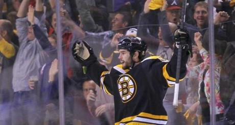 Adam McQuaid celebrated after scoring during the third period.