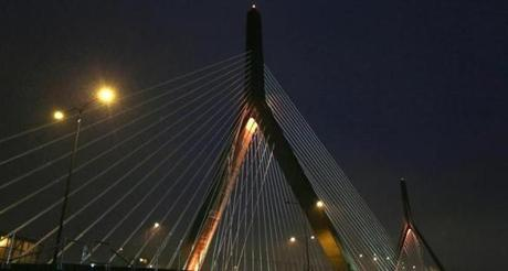 The Zakim Bridge was lit in gold-colored lighting to honor the Bruins.
