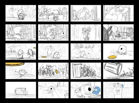 "A storyboard sequence for  ""Monsters University"" by Dean Kelly, who worked on the film for  the last three years."