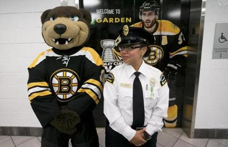 Blades the Bear mimicked a security guard before the Bruins came out for the team's sendoff at the TD Garden as they headed to Chicago for the NBA Finals.