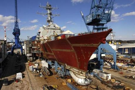 The Arleigh Burke DDG 51 Class Destroyer at Bath Iron Works.