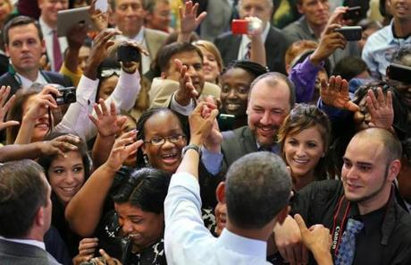 President Obama greeted the crowd after his speech.