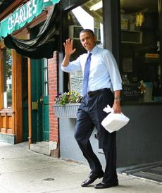 Burger in hand, President Obama left the South End eatery before heading to a campaign event for Edward Markey in Roxbury.