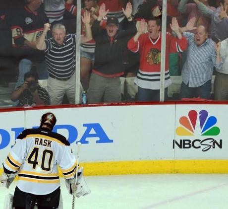 Minutes later, Rask heard it from Blackhawks fans when he allowed the game-tying goal.