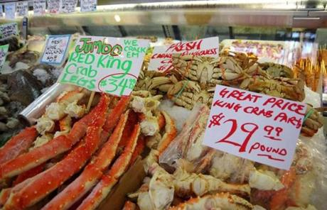 Find fresh king crab legs, which some say rivals east coast lobster, at the market.