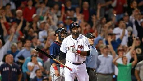 David Ortiz reacted to hitting a home run in a game at Fenway Park against the Indians.