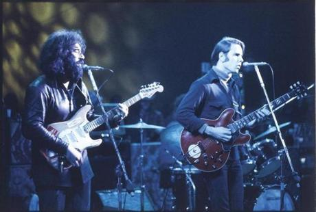 Jerry Garcia (left) and Bob Weir of the Grateful Dead performing in 1972.