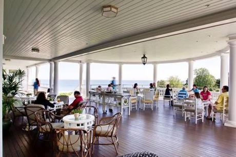 Guests of the Ocean House in Watch Hill, R.I. enjoyed a drink on the huge deck that overlooks the Atlantic Ocean.