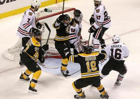 Before the second period closed Patrice Bergeron scored the fifth goal of the frame to narrow Chicago's lead to 4-3.