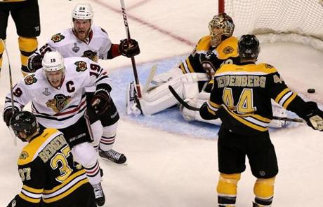 At 9:51 of the extra period, Brent Seabrook ripped a shot past Rask to win the game for the Blackhawks.
