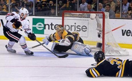 But Chicago's Marcus Kruger beat Rask for a goal to put the Blackhawks up 4-2 less than a minute later.