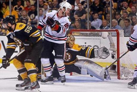 Early in the second period Jonathan Toews slipped a shot past Tuukka Rask for a 2-1 Chicago lead.