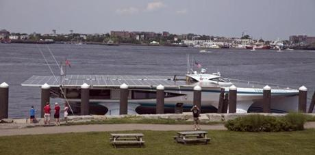 The boat parked at Fan Pier in Boston on Saturday.