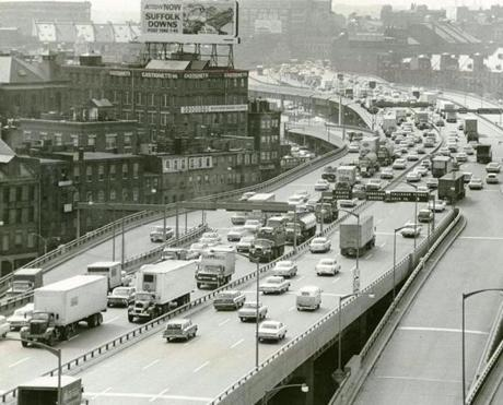 June 10, 1964: After more than eight years of construction, the Central Artery and the Southeast Expressway were joined together on June 25, 1959, when both expressways finally opened to traffic. During its first day of operation, some 60,000 vehicles used the new six-lane Central Artery. The first traffic jam was recorded only three months after completion.