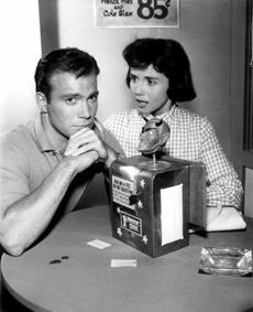 "Mr. Matheson wrote well known ""Twilight Zone"" episodes, including ""Nightmare at 20,000 Feet"" and ""The Nick of Time"" with William Shatner and Patricia Breslin (pictured)."
