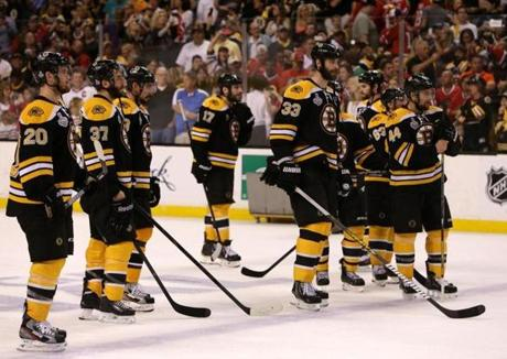 That left the Bruins searching for answers for how they blew a 2-1 lead in the final two minutes as they watched Chicago celebrate on the TD Garden ice.