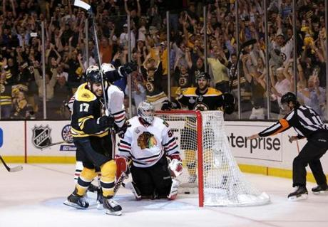 The Bruins appeared headed back to Chicago for a Game 7 after Milan Lucic scored to give them a 2-1 at 12:11 of the third period.