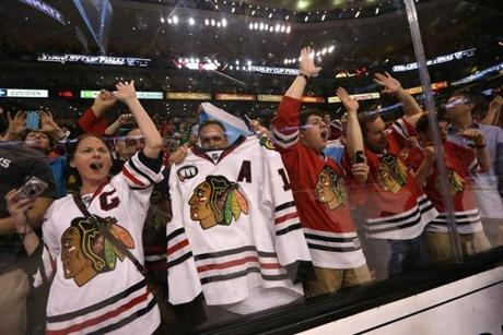 Blackhawks fans who made the trip to Boston were able to celebrate their team's win at the TD Garden.