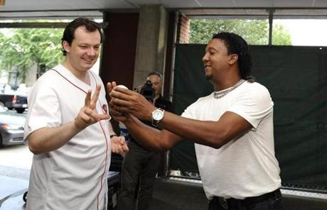 "Red Sox great Pedro Martinez offered pitching advice. ""Just don't bounce it,"" Martinez said."