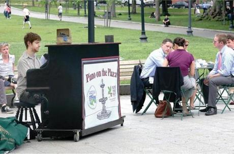 Lunchtime entertainment can be had with the solar-powered piano.