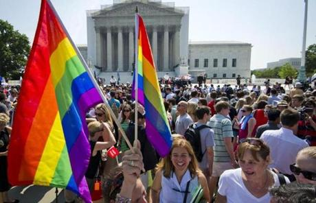 Hundreds of people were part of the celebration outside the US Supreme Court in Washington, DC.