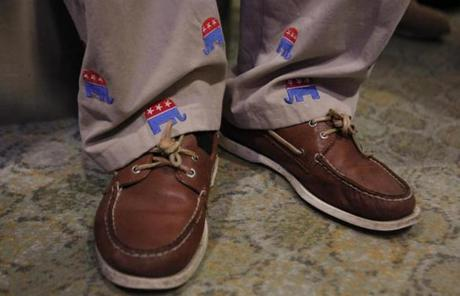 A volunteer for Gomez's campaign wore pants with the Republican symbol on them at the election night party.