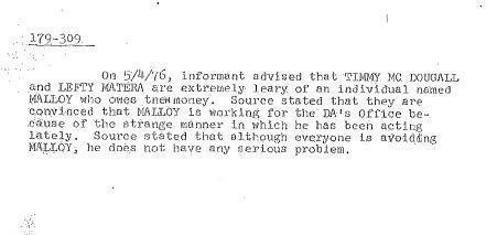"FBI report allegedly based on information provided by informant James ""Whitey"" Bulger."