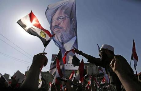 Supporters of Morsi rallied in Nasser City in Cairo.