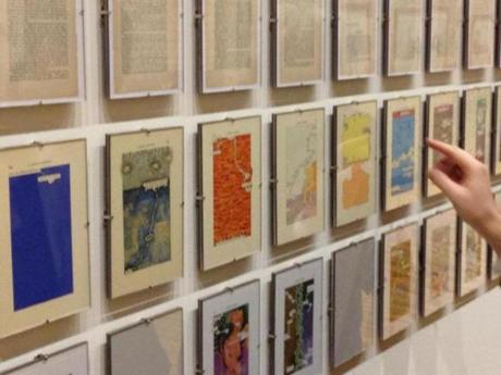 "The Mass MoCA exhibit displays two treatments of Tom Phillips's ""A Humument"" under pages of the novel that inspired them."