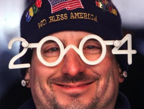Vendor Ray Dureault wore the 2004 glasses that he was selling along with other novelties at his stand in Copley Square.