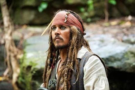"Jack Sparrow in the ""Pirates of the Caribbean"" films."