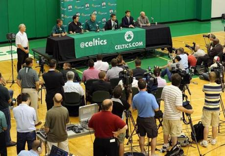There were dozens of members of the media on hand at the Celtics' training facility in Waltham for the introduction of Stevens.