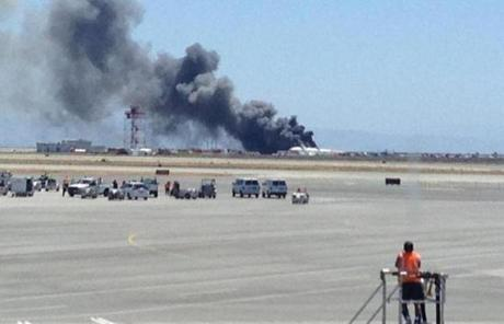 Smoke could be seen rising from the plane.