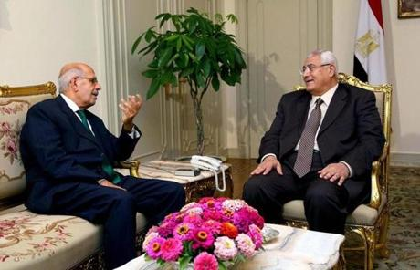 Interim President Adly Mansour (right) met with pro-reform leader Mohamed ElBaradei.