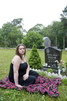 Shannon Maxim at her daughter's grave.