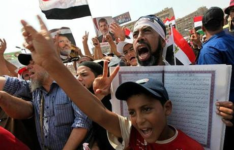 Supporters of ousted Egyptian President Mohammed Morsi shouted during a protest outside a Cairo mosque.