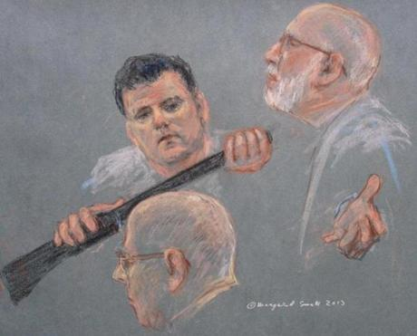 In this sketch, witness Kevin Weeks, at the request of the defense, identified weapons prosecutors say belonged to Bulger.