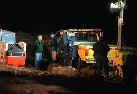 Police dug up human remains across from Florian Hall on Jan. 13, 2000.