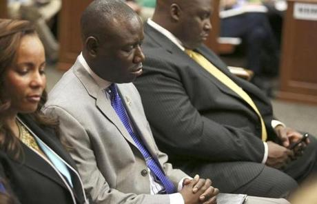 Attorneys Natalie Jackson (from left), Benjamin Crump, and Daryl Parks sat in for the Martin family on Saturday.
