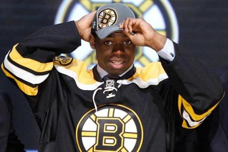 Malcolm Subban, whose brother P.K. plays for the rival Canadiens, was taken by the Bruins in the first round in 2012.