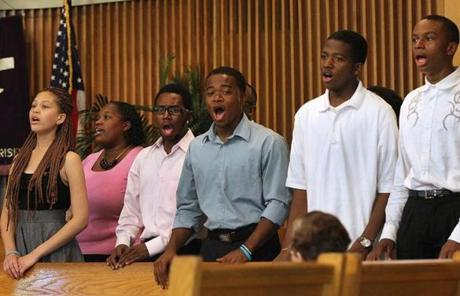 The youth choir at Boston's Twelfth Baptist Church sang during a service that included comments on the case.
