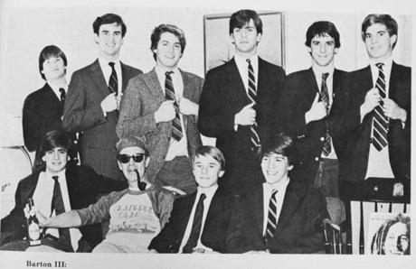 From Deerfield's 1983 yearbook: Teacher and coach Peter Hindle posing with his dorm charges (with pipe).