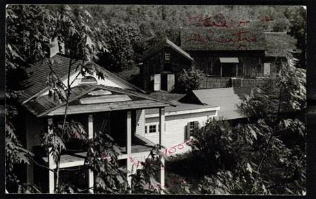 "Markova wrote ""my room"" in red on this 1941 photo of the main house on the Jacob's Pillow property; the rustic barn is pictured."