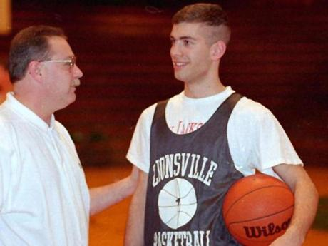 "Says Zionsville coach Dave Sollman (above, with Stevens in 1995), ""Maybe he learned how not to be on the sideline from me."""