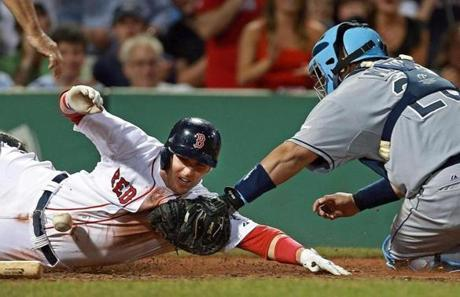 Stephen Drew scored in the bottom of the 8th inning on a hit by Red Sox teammate Jose Iglesias as the throw to the plate got by Tampa Bay Rays catcher Jose Molina at Fenway Park.